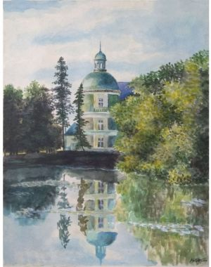 Painting, Realism - Old pond. France