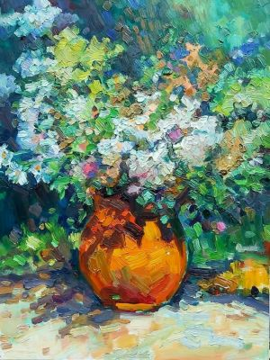 Painting, Still life - Bouquet in a clay pot