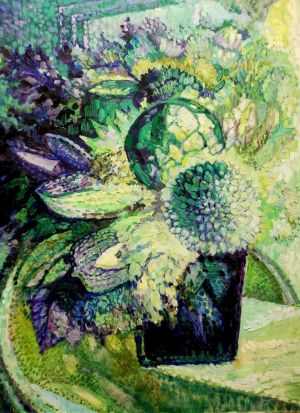 Painting, Still life - Bouquet Faberge Emerald