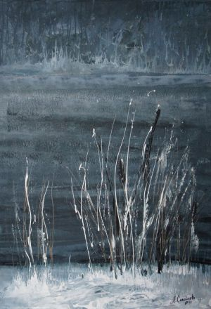 Painting, Abstractionism - Lake grasses