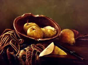 Painting, Still life - pears