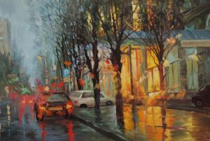 Painting, City landscape - after the rain