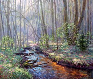 Painting, Landscape - In the may forest