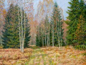 Painting, Landscape - Sunny day in the forest