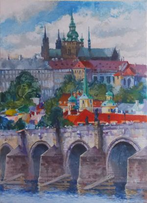 Painting, City landscape - Karlov-most