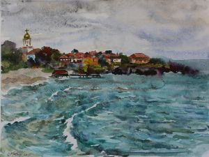 Graphics, Seascape - Sozopol-More-pered-dojdem
