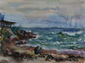 Graphics, Seascape - Osennee-more-Sozopol