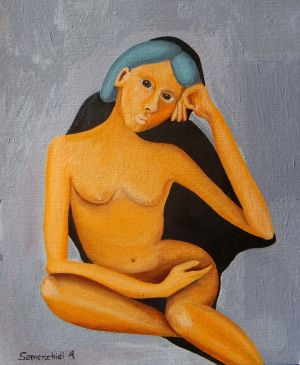 Painting, Nude (nudity) - Avtoportet-YA-i-moya-ten