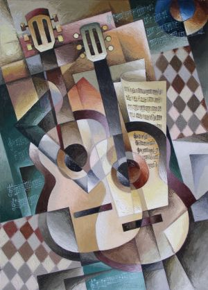 Painting, Cubism - Dve-gitary