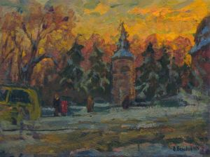 Painting, City landscape - Winter day in the city